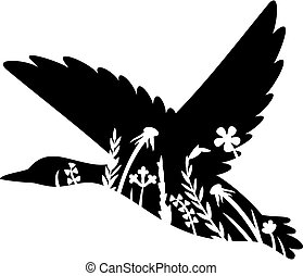 Floral flying mallard duck vector illustration (grass silhouettes - flowers and plants).
