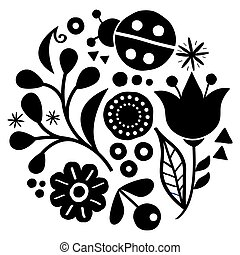 Floral folk art vector design, happy black and white pattern with flowers and ladybird - Scandinavian greeting card or invitation, hand drawn style