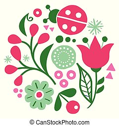 Floral folk art vector design, happy green and pink pattern with flowers and ladybird - Scandinavian greeting card or invitation, hand drawn style