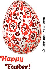 floral folk-style decor on christian resurrection symbol. Easter egg decoration vector illustration. spring life icon in simple decorative style