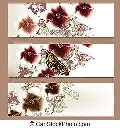 floral, folletos, vector, conjunto