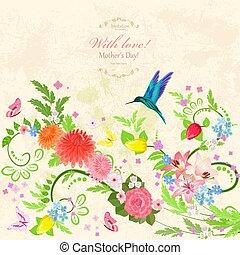 floral, fond, à, oiseau