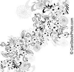 floral, fond, élément