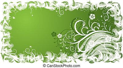 floral, fond, grunge, vecteur