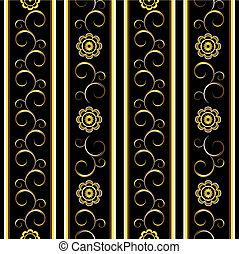floral, fond, noir, raies, (vector)