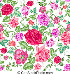 floral, fond, pattern., seamless, roses