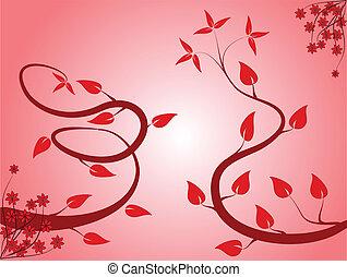 floral, fond, rose, résumé