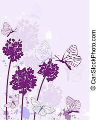 floral, fond, violet