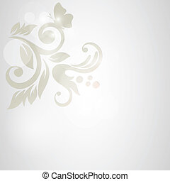 floral, fondo., boda, tarjeta, o, invitación, con, resumen,...