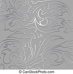 floral, fondo., papel pintado, plata, vector