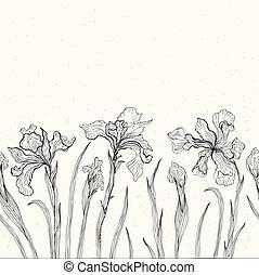 floral, fondo., resumen, iris.