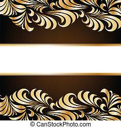 floral, fondo., vector, oro