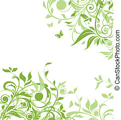 floral, fondo verde