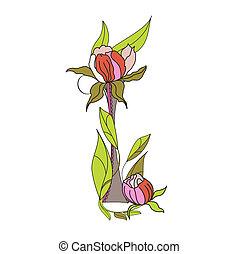 Floral font 2. Letter I