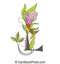 Floral font 2. Letter L