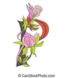 Floral font 2. Letter P