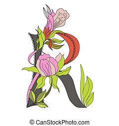 Floral font 2. Letter R
