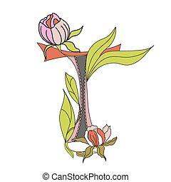 Floral font 2. Letter T