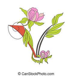 Floral font 2. Letter V