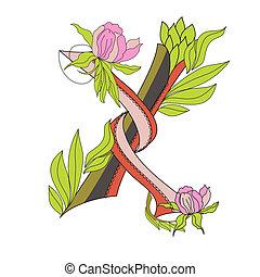 Floral font 2. Letter X
