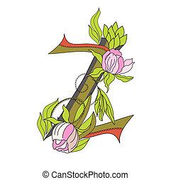 Floral font 2. Letter Z