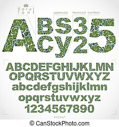 Floral font and numbers, hand-drawn vector alphabet letters...