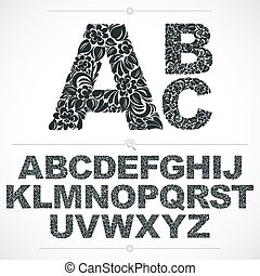 Floral font, hand-drawn vector capital alphabet letters decorated with botanical pattern. Black and white ornamental typescript, vintage design lettering.