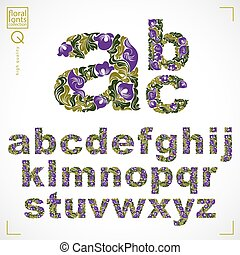 Floral font, hand-drawn vector lowercase alphabet letters decorated with botanical pattern. Green ornamental typescript, vintage design lettering.