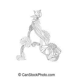 Floral font, Letter A