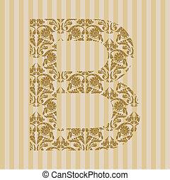 Floral font. Letter B