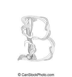 Floral font, Letter B