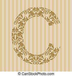 Floral font. Letter C