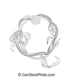 Floral font, Letter Q