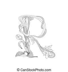 Floral font, Letter R