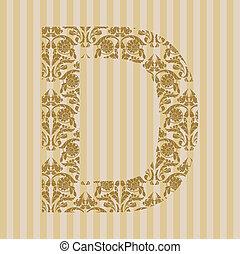floral, font., lettre, d