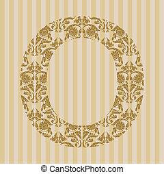 floral, font., lettre, o
