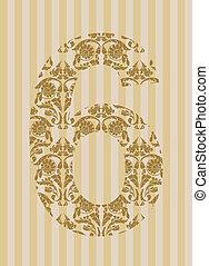 Floral font. Number 6
