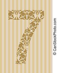Floral font. Number 7
