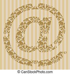Floral font. Symbol @