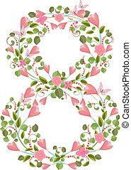 Floral font with spring pink flowers. Romantic number eight
