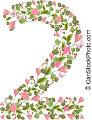 Floral font with spring pink flowers. Romantic number two