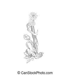 floral, fonte, letra