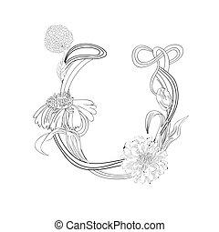 floral, fonte, u, letra