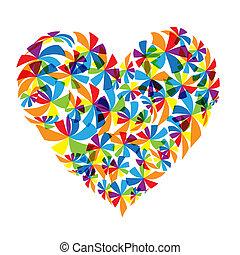 floral, forma coração, desenho