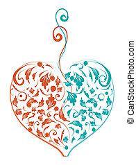 floral, forma coração, desenho, seu