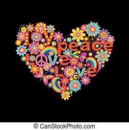 floral, forma coração