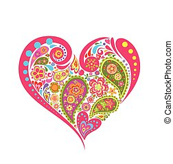 floral, forma coração, paisley