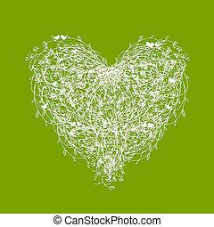 floral, forma coração, verde branco