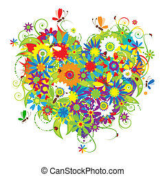 floral, forme coeur, amour
