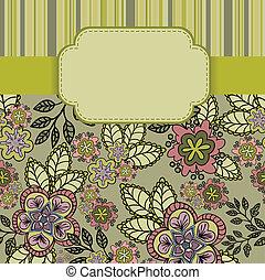 floral, frame, achtergrond